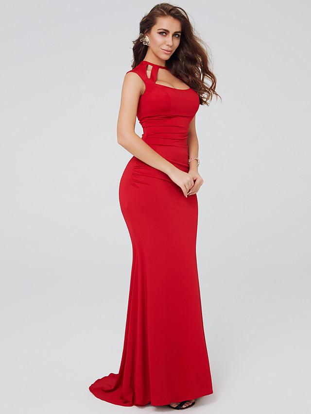 Sheath / Column Celebrity Style Formal Evening Dress Halter Neck Sleeveless Sweep / Brush Train Jersey with 2020