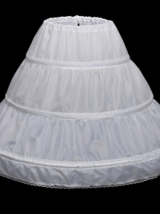 Wedding / Party Evening Slips Satin Floor-length Classic & Timeless with Lace-trimmed Bottom / Lace-trimmed bottom / Lace-up