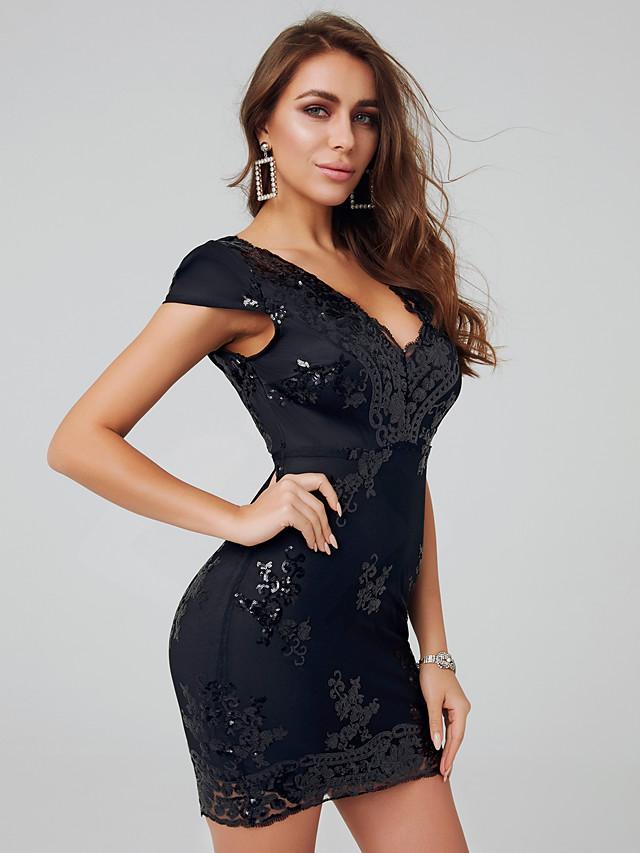 Eng anliegend Sexy Cocktailparty Kleid V-Ausschnitt