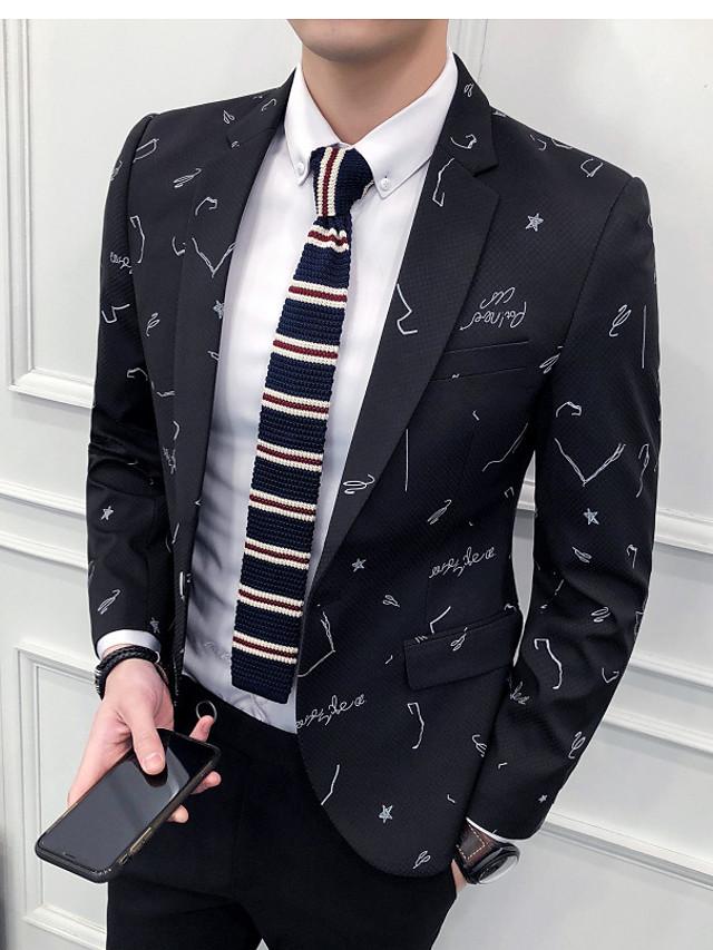 Μαύρο / Μπλε Ωκεανού Με Μοτίβο Κατά παραγγελία εφαρμογή Polyster Κοστούμι - Εγκοπή Μονόπετο Ενός Κουμπιού