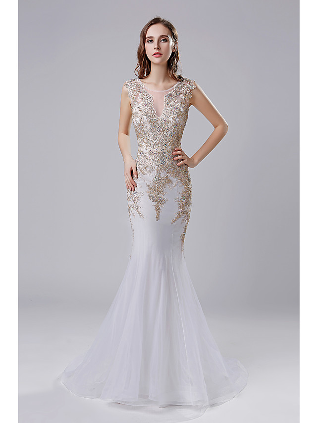 Mermaid / Trumpet Elegant Vintage Inspired Formal Evening Dress Illusion Neck Sleeveless Court Train Tulle with Crystals Appliques 2020