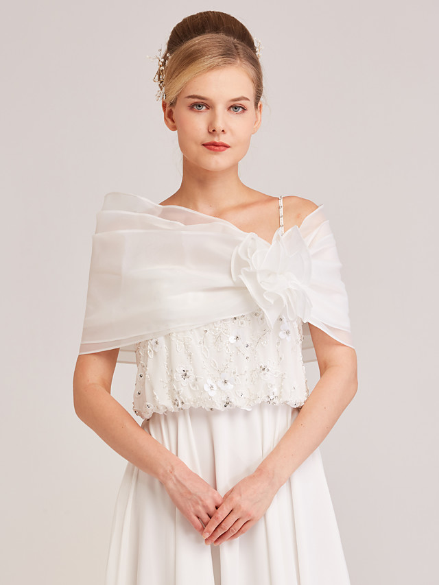 Sleeveless Shrugs / Capelets Organza Wedding / Party / Evening Women's Wrap With Flower
