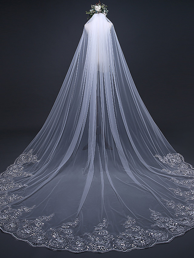 One-tier Luxury / Lace Applique Edge Wedding Veil Cathedral Veils with Sequin / Appliques 118.11 in (300cm) Lace / Tulle / Oval