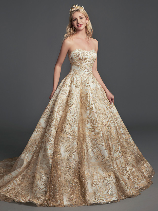 Ball Gown Sparkle & Shine Formal Evening Dress Sweetheart Neckline Sleeveless Court Train Sequined with Sequin 2021