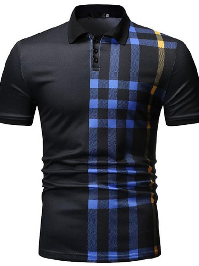 Men's Polo Striped Short Sleeve Daily Wear Tops Shirt Collar White Black Navy Blue