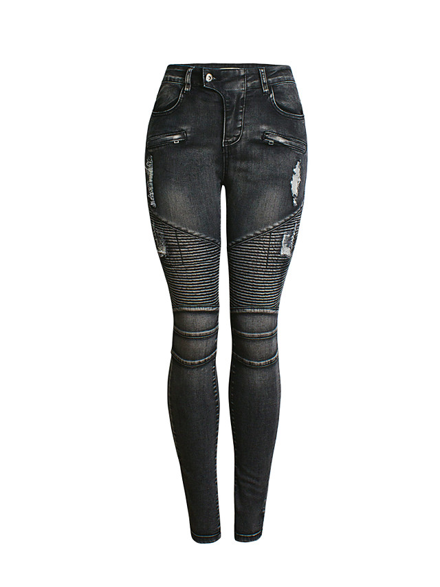 Women's Basic Street chic Skinny Cotton Jogger Pants - Solid Colored Blue, Hole High Waist Black S / M / L