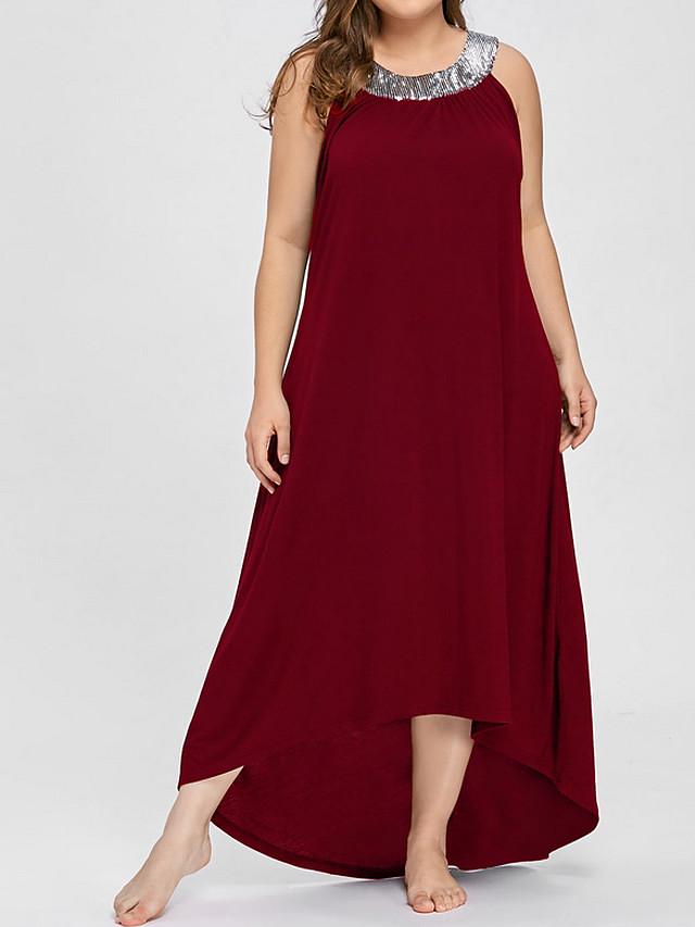 Femme Robe Trapèze Grandes Tailles Maxi Sans Manches Couleur Pleine Sortie Ample Noir Violet Rouge XL XXL XXXL XXXXL