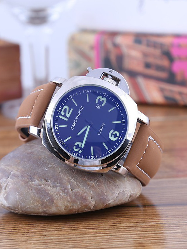 Men's Dress Watch Quartz Leather Brown Casual Watch Analog Minimalist Cool - Black Golden Silver / Stainless Steel
