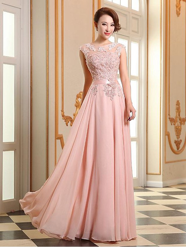 A-Line Empire Elegant Prom Formal Evening Dress Illusion Neck Sleeveless Floor Length Georgette Beaded Lace with Appliques 2021