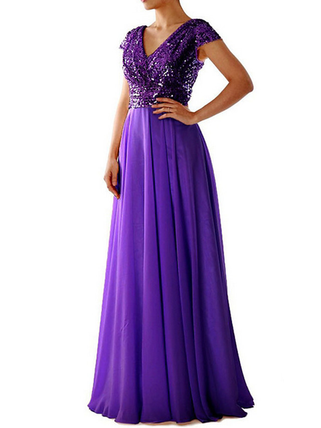 Women's Maxi long Dress Swing Dress - Short Sleeve Sequins Deep V Cocktail Party Prom Black Purple Beige S M L XL XXL XXXL