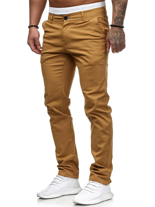 Men's Basic Cotton Jogger Chinos Pants - Solid Colored Classic White Black Red M / L / XL