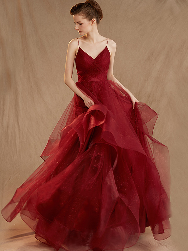 Ball Gown Elegant Red Engagement Formal Evening Dress Spaghetti Strap Sleeveless Sweep / Brush Train Tulle with Ruched Tier 2020