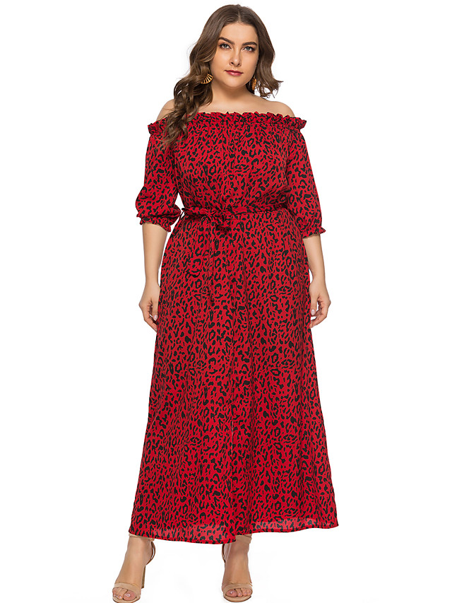 Sheath / Column Elegant Plus Size Holiday Cocktail Party Dress Off Shoulder Half Sleeve Ankle Length Chiffon with Draping Pattern / Print Split Front 2020