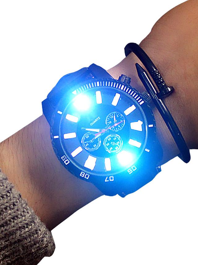 Муж. Спортивные часы Кварцевый На каждый день Светящийся Аналоговый Белый Черный / Два года / Кожа / Крупный циферблат / Два года