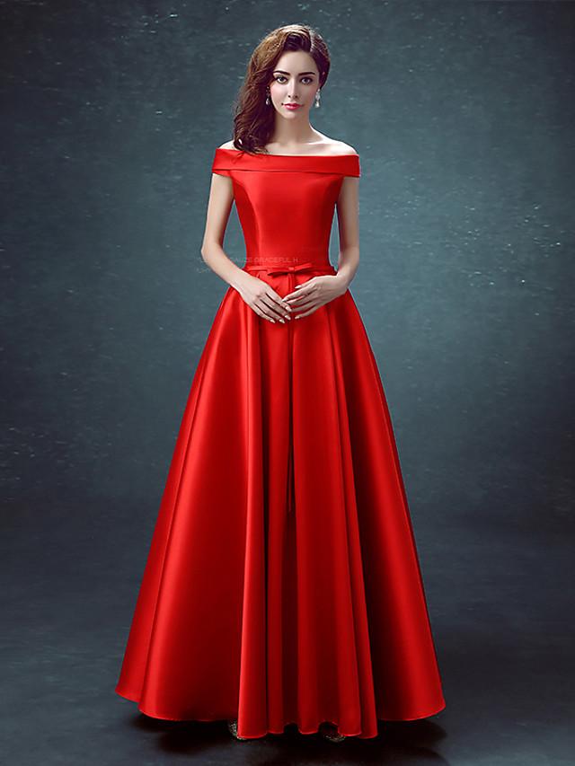 A-Line Elegant Minimalist Prom Dress Off Shoulder Sleeveless Floor Length Satin with 2020