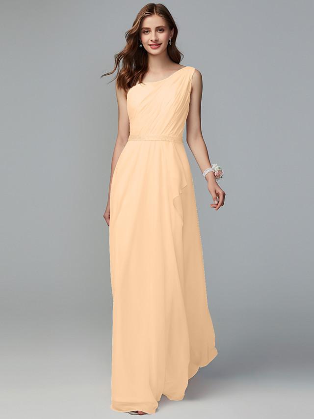A-Line One Shoulder Floor Length Chiffon Bridesmaid Dress with Split Front / Pleats