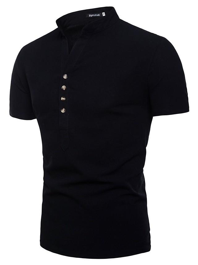 Men's Solid Colored Shirt - Cotton Linen Basic Casual Formal Button Down Collar Standing Collar Wine / White / Black / Khaki / Light Blue / Short Sleeve