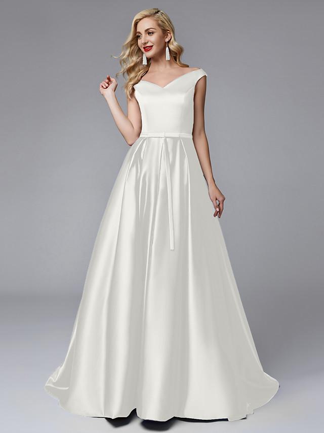 Ball Gown V Neck Sweep / Brush Train Satin Bridesmaid Dress with Sash / Ribbon / Pleats