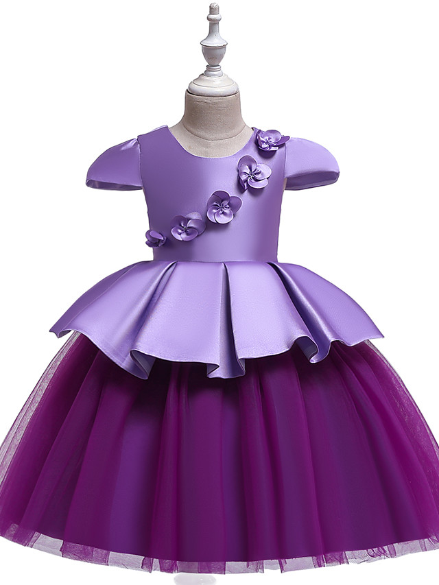 Princess Knee Length Wedding / Party / Pageant Flower Girl Dresses - Cotton / Satin / Tulle Cap Sleeve Jewel Neck with Belt / Appliques / Splicing
