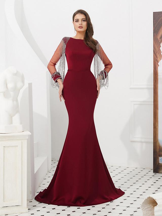 Mermaid / Trumpet Elegant Vintage Inspired Formal Evening Black Tie Gala Dress Jewel Neck Long Sleeve Sweep / Brush Train Satin Tulle with Sash / Ribbon Crystals Beading 2020