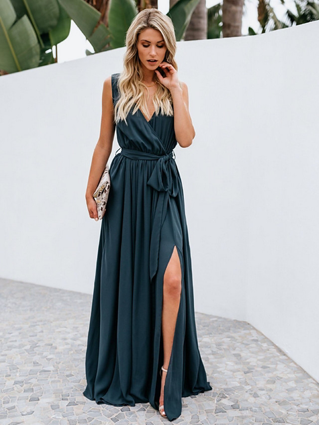 A-Line Plunging Neck Floor Length Chiffon Bridesmaid Dress with Bow(s)
