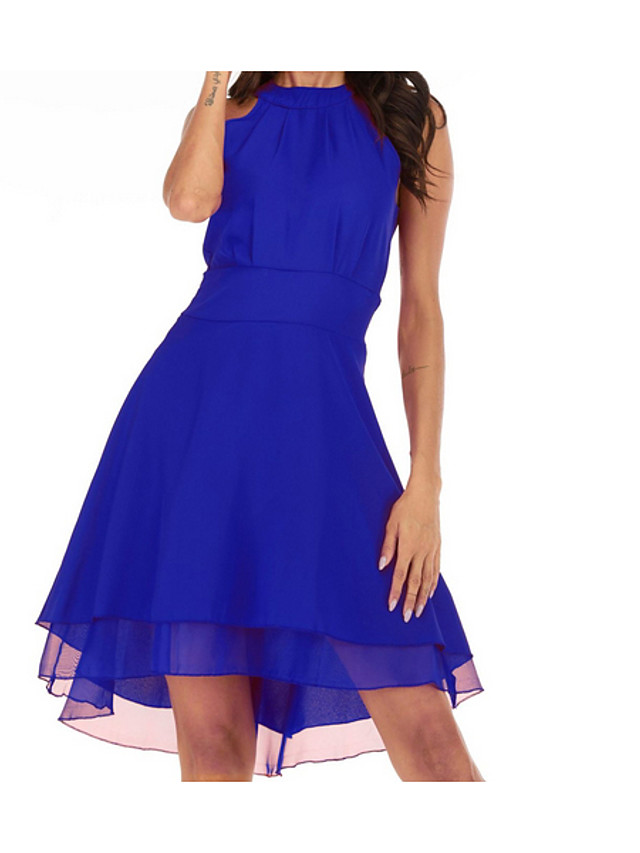 Women's Plus Size Chiffon Dress - Sleeveless Solid Colored Layered Summer Basic Going out Black Blue Purple Red Green S M L XL XXL XXXL XXXXL XXXXXL