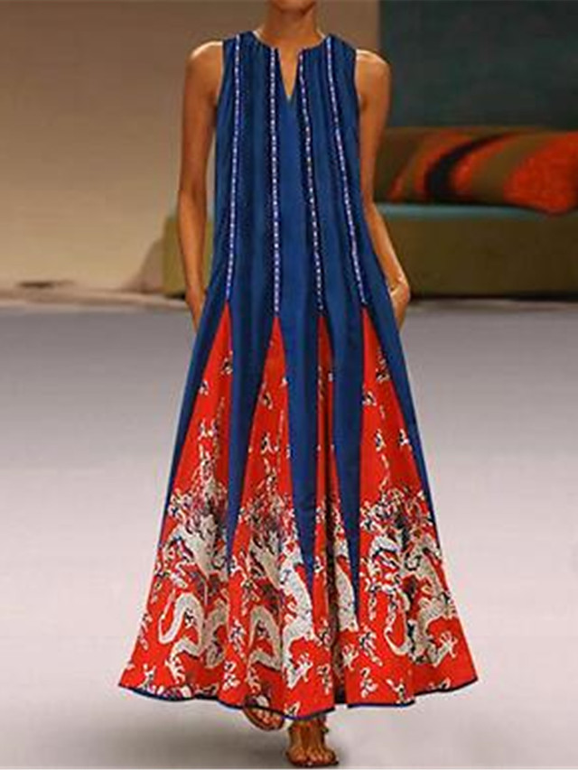 Women's Plus Size Maxi Tunic Dress - Sleeveless Print Print Spring & Summer V Neck Casual Holiday Vacation 2020 White Black Blue Red Green S M L XL XXL XXXL XXXXL XXXXXL