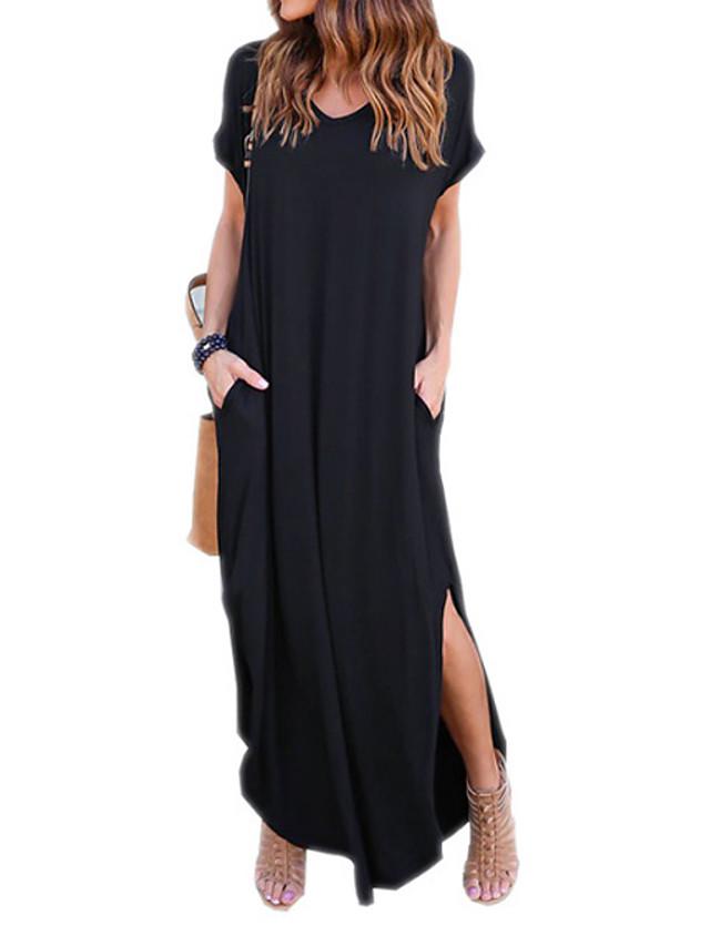 Mulheres Solto Maxi Vestido - Manga Curta Preto Sólido quente Moda de Rua Algodão Delgado Preto Vinho Azul Cinzento S M L XL