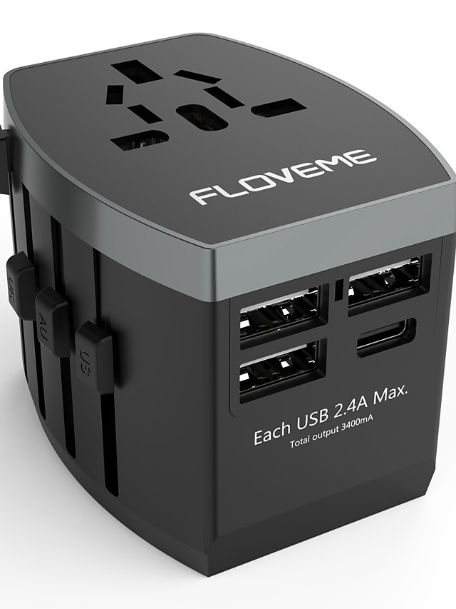 Floveme Quick Fast Charge 4 USB Ports All in One Travel Adapter Worldwide Adapter Support Phone/Table and Other Devices(Black)