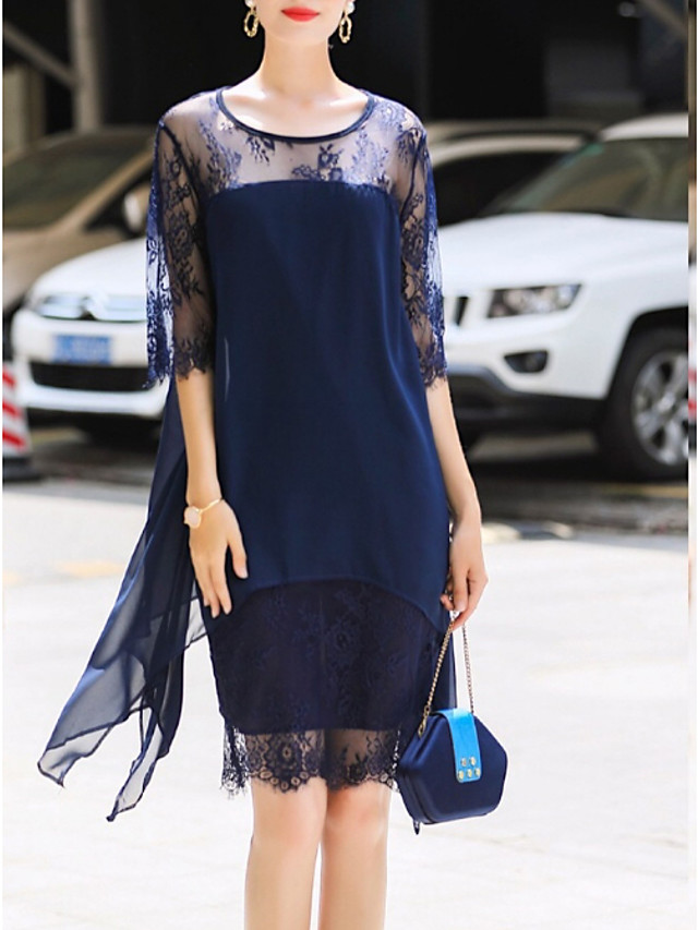 Women's Plus Size Sheath Dress Knee Length Dress - 3/4 Length Sleeve Geometric Lace Chiffon Spring & Summer Street chic 2020 Wine Black Blue S M L XL XXL XXXL XXXXL XXXXXL
