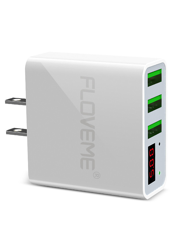 Floveme US Plug Quick Fast Charge 3 USB Ports LED Digital Display Support Phone/Table and Other Devices(White)