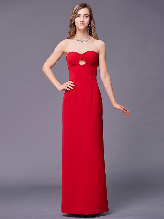 Sheath / Column Sweetheart Neckline Floor Length Stretch Satin Bridesmaid Dress with Split Front