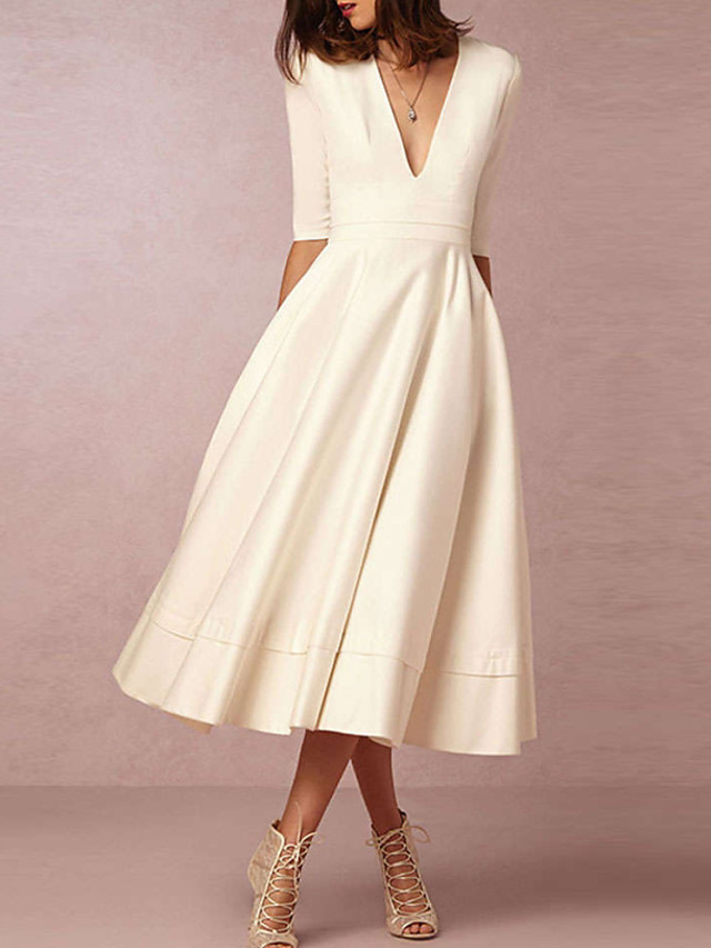 A-Line Wedding Dresses V Neck Tea Length Satin Half Sleeve Casual Vintage Little White Dress 1950s with 2020