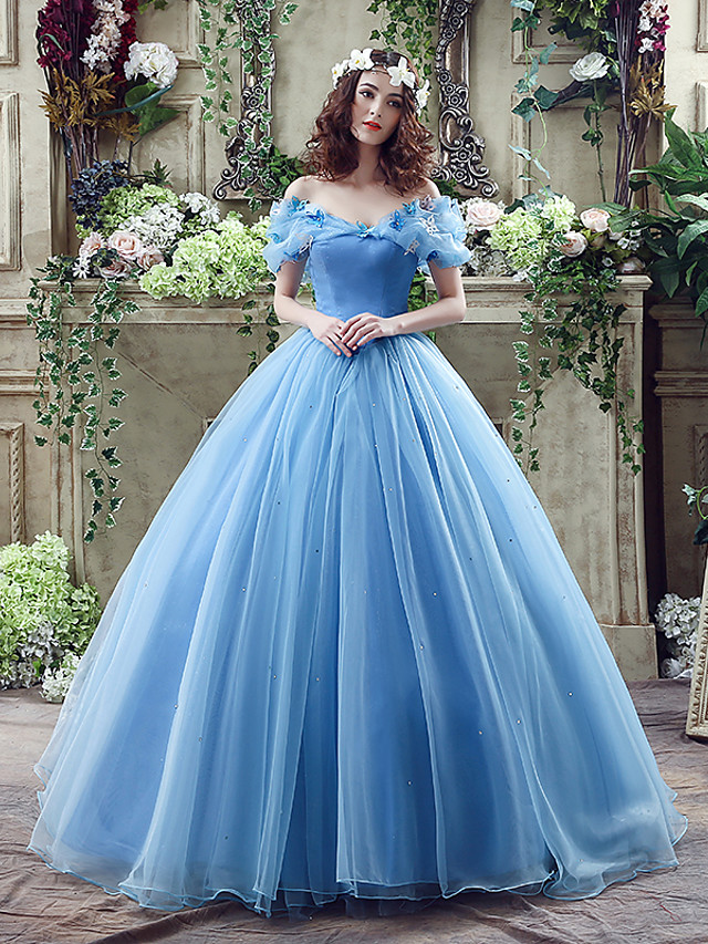 Ball Gown Sexy Blue Quinceanera Prom Dress Off Shoulder Short Sleeve Chapel Train Satin Tulle with Appliques 2020 / Puff / Balloon Sleeve
