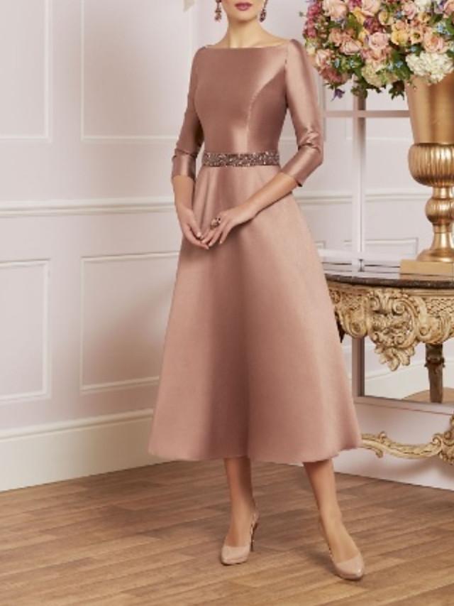 A-Line Mother of the Bride Dress Elegant Vintage Plus Size Jewel Neck Tea Length Satin 3/4 Length Sleeve with Crystals 2020