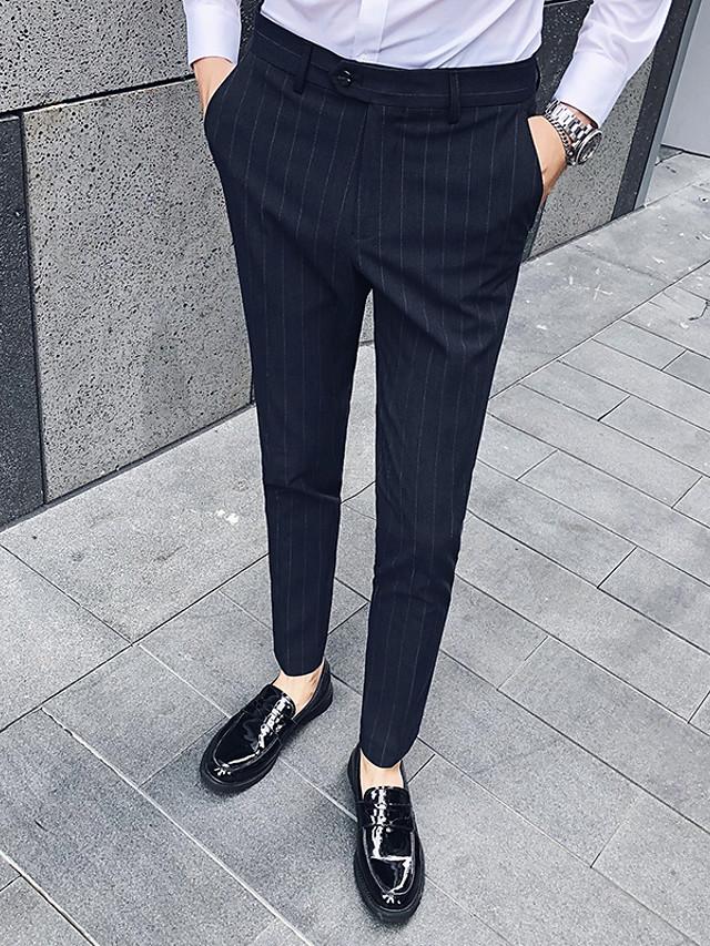 Hombre Basico Pantalones De Traje Pantalones A Rayas Longitud Total Negro Marron Claro Gris Claro 7471359 2021 39 99