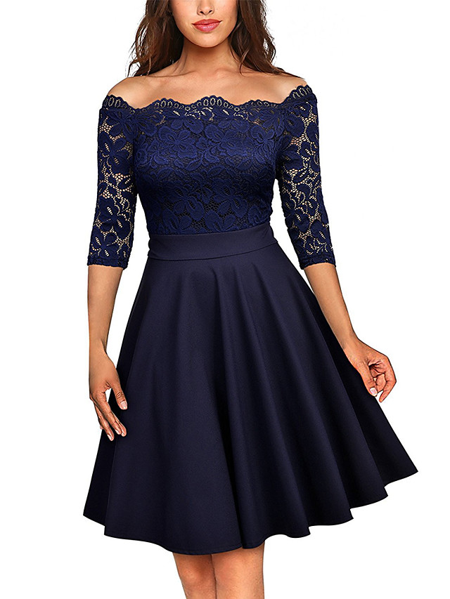 Women's Swing Dress - Half Sleeve Solid Colored Lace Cut Out Lace Trims Off Shoulder Sophisticated Wine Black Navy Blue S M L XL
