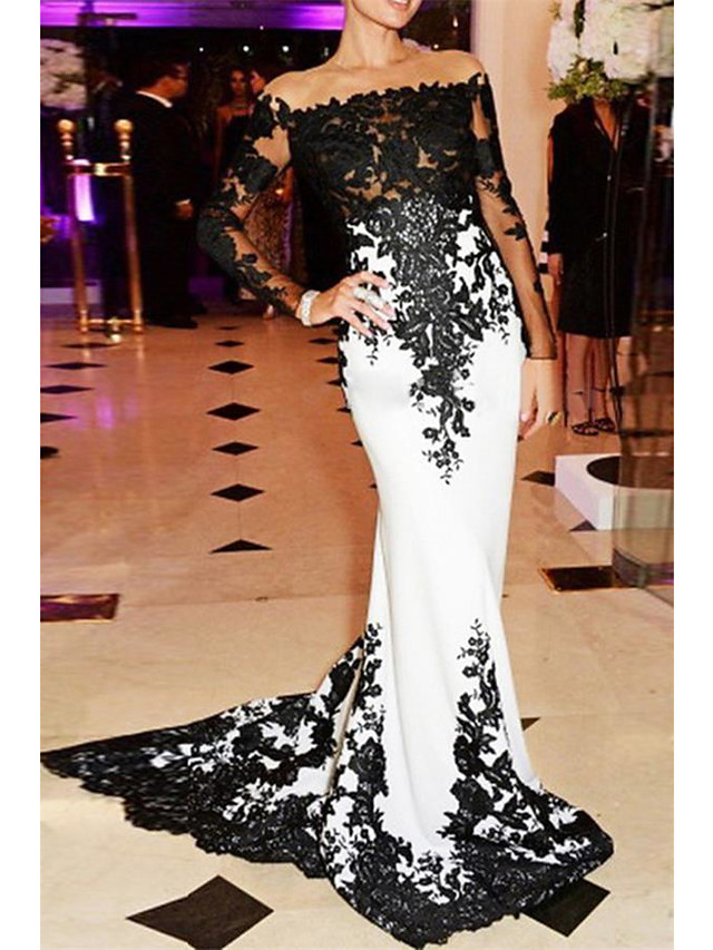 Mermaid / Trumpet White Black Engagement Formal Evening Dress Off Shoulder Long Sleeve Sweep / Brush Train Lace with Appliques 2020