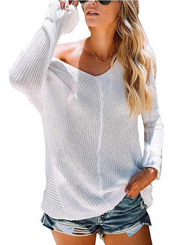 Women's Solid Colored Pullover Long Sleeve Sweater Cardigans V Neck Wine White Black