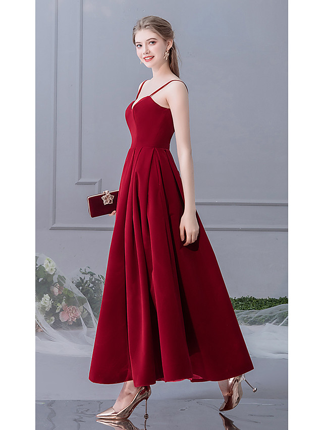 A-Line Elegant Cute Prom Dress Spaghetti Strap Sleeveless Ankle Length Charmeuse with 2020
