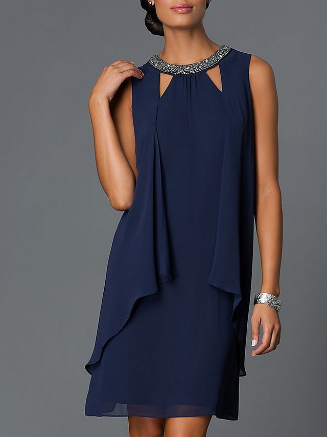 Sheath / Column Cut Out Wedding Guest Cocktail Party Dress Jewel Neck Sleeveless Knee Length Chiffon with Beading 2021