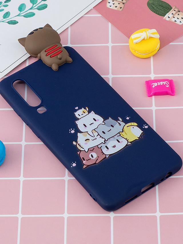 Case For Huawei Huawei P30 Shockproof / Ultra-thin / Squishy Back Cover Animal / Cartoon / 3D Cartoon Soft TPU