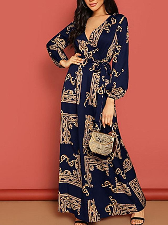 Women's Maxi A Line Dress - Long Sleeve Geometric Spring & Summer V Neck Elegant 2020 Black Navy Blue S M L XL