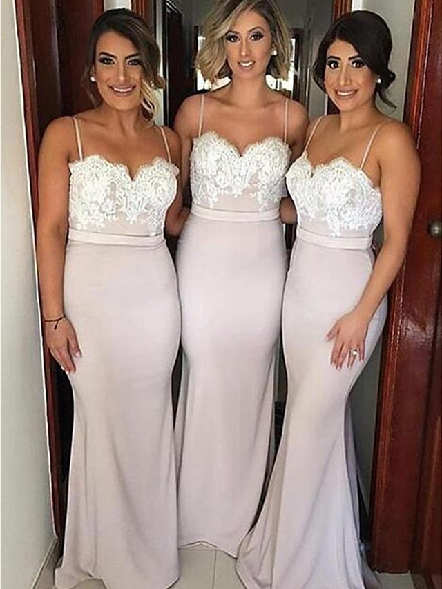 Mermaid / Trumpet Spaghetti Strap Floor Length Jersey Bridesmaid Dress with Appliques