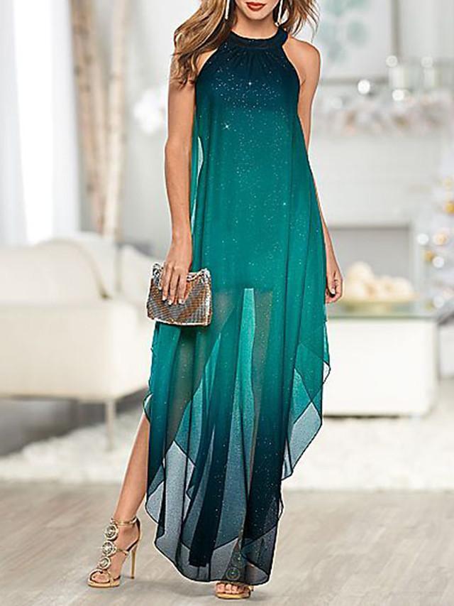 Women's Maxi long Dress - Sleeveless Color Block Split Elegant Cocktail Party Prom Birthday Green M L XL XXL XXXL