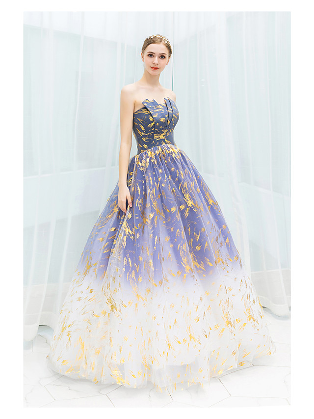 Ball Gown Sparkle Blue Quinceanera Prom Dress Strapless Sleeveless Floor Length Tulle with Sequin Pattern / Print 2020