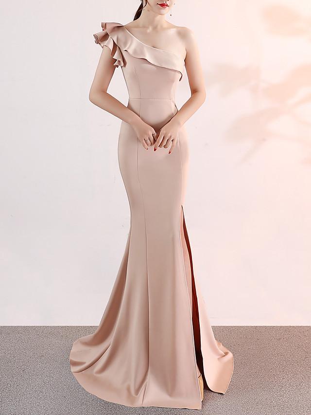 Mermaid / Trumpet Elegant Pink Engagement Formal Evening Dress One Shoulder Sleeveless Sweep / Brush Train Satin with Ruffles Split 2020