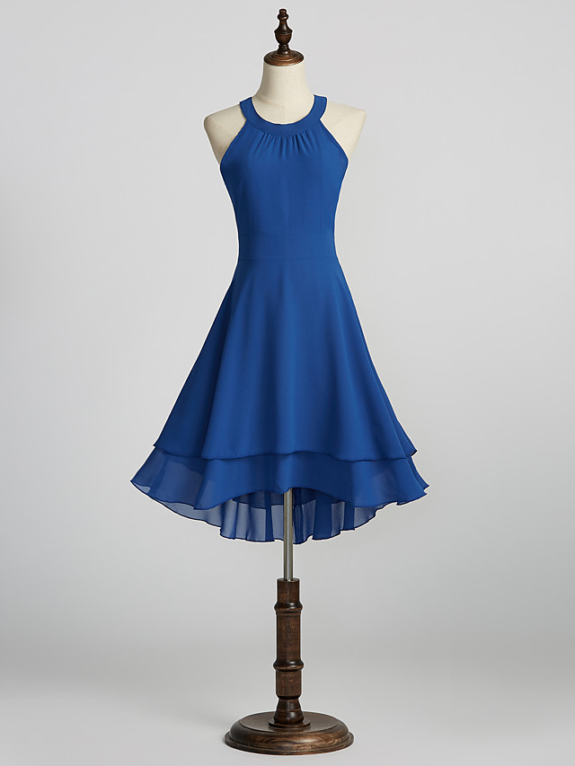 A-Line Minimalist Blue Holiday Cocktail Party Dress Halter Neck Sleeveless Knee Length Chiffon with Pleats 2020