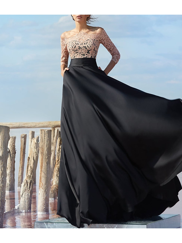 A-Line Empire Black Engagement Formal Evening Dress Off Shoulder Half Sleeve Floor Length Chiffon Lace with Lace Insert Appliques 2020