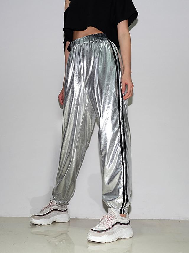 Mujer Deportivo Basico Corte Ancho Jogger Chinos Pantalones Un Color Retazos Alta Cintura Plata S M L 7540125 2021 25 29